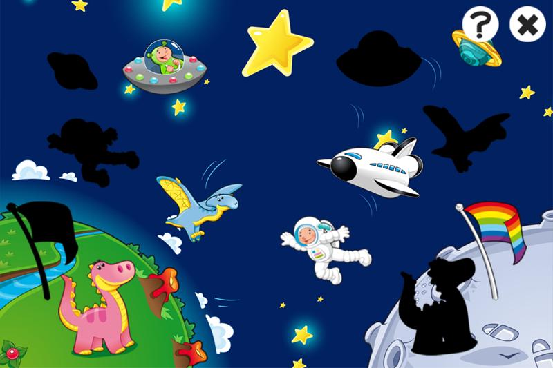 学前班或幼儿园与宇航员,火箭,航天飞机,飞碟,外星人,星星,太阳,月亮