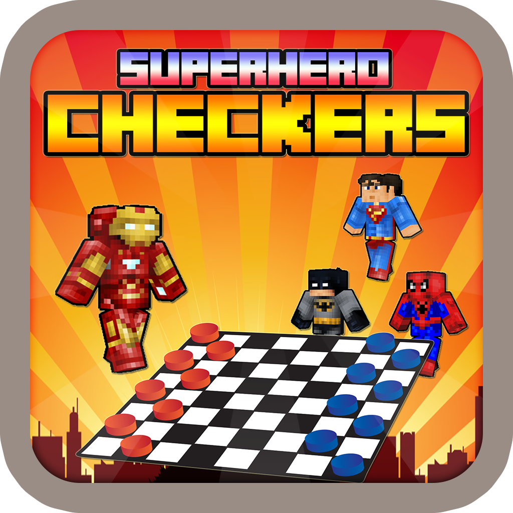 Superhero Skin Checkers - Draughts Block Craft World Edition