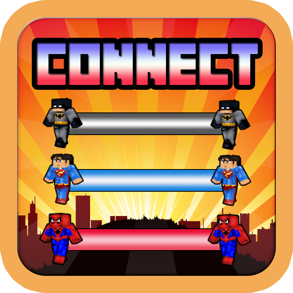 Connect Pixel Super Hero Skin Free : Free Flow a Block Craft World Edition