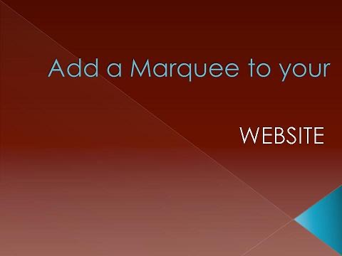 Website Marquee Tutorial