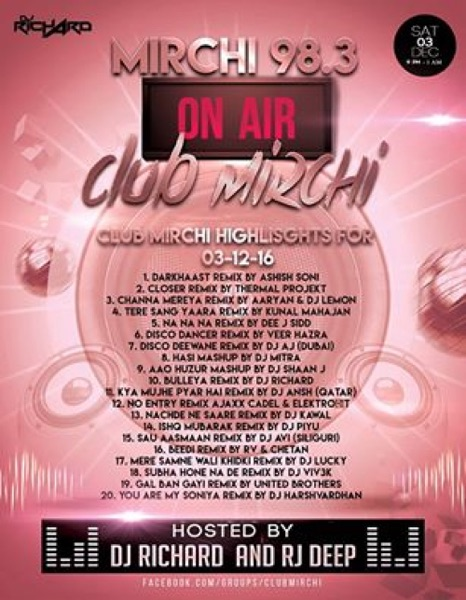 CLUB MIRCHI 03-12-2016 (INDIAN BEATS FACTORY)