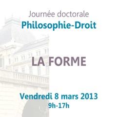 """Journée doctorale Philosophie- Droit :  """"La forme"""""""