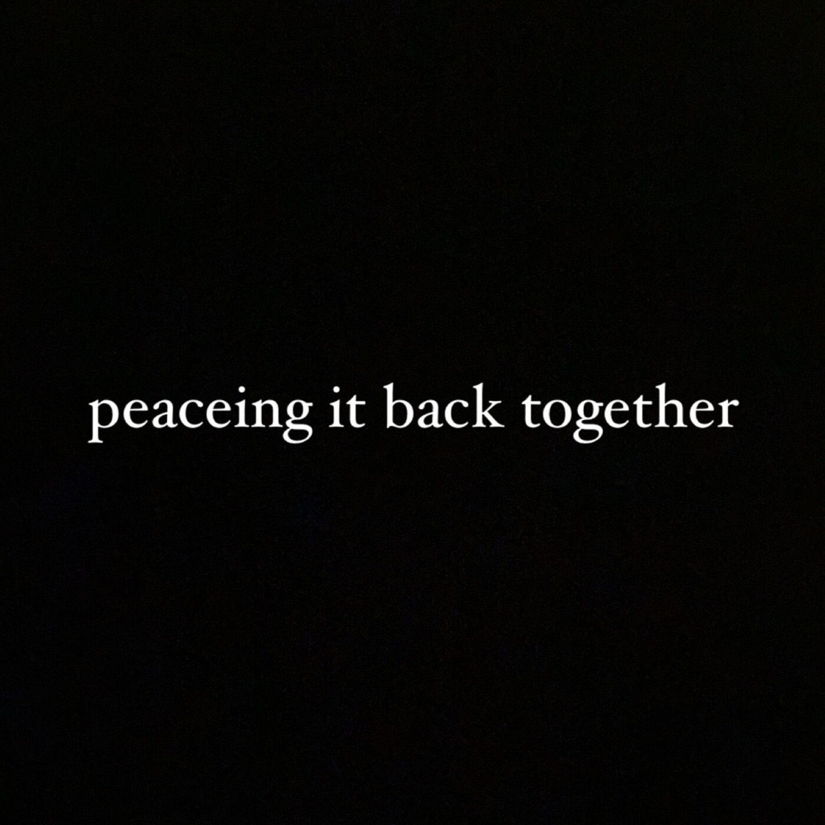 peaceing it back together