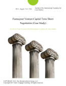Fantasynet Venture Capital Term Sheet Negotiation (Case Study)