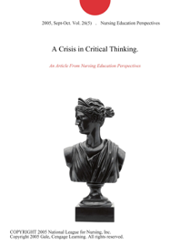 A Crisis in Critical Thinking. book