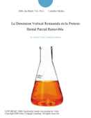 La Dimension Vertical Restaurada en la Protesis Dental Parcial Removible.
