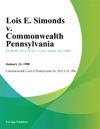 Lois E Simonds V Commonwealth Pennsylvania