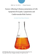 Factors Affecting S-Homocysteinylation of LDL Apoprotein B (Lipids, Lipoproteins and Cardiovascular Risk Factors)