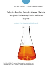 Selective Breeding Greenlip Abalone (Haliotis Laevigata): Preliminary Results and Issues (Report)