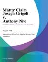 Matter Claim Joseph Grigoli V Anthony Nito