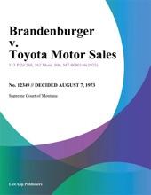 Brandenburger v. Toyota Motor Sales