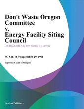 Dont Waste Oregon Committee v. Energy Facility Siting Council