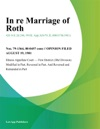 In Re Marriage Of Roth