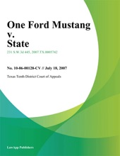 One ford Mustang v. State