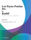 Leo Payne Pontiac Inc V Ratliff