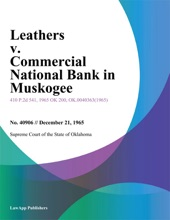 Leathers v. Commercial National Bank In Muskogee