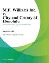 MF Williams Inc V City And County Of Honolulu