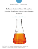 Isoflavone Content of Breast Milk and Soy Formulas: Benefits and Risks (Letters) (Letter to the Editor)