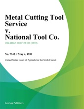 Metal Cutting Tool Service v. National Tool Co.