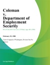 Coleman V Department Of Employment Security