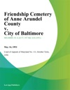 Friendship Cemetery Of Anne Arundel County V City Of Baltimore
