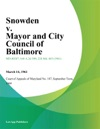Snowden V Mayor And City Council Of Baltimore