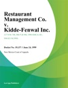 Restaurant Management Co V Kidde-Fenwal Inc