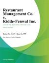 Restaurant Management Co V Kidde-Fenwal Inc