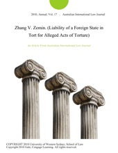 Zhang V. Zemin. (Liability of a Foreign State in Tort for Alleged Acts of Torture)