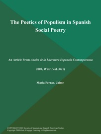 The Poetics Of Populism In Spanish Social Poetry