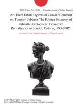Are There Urban Regimes In Canada? Comment On: Timothy Cobban's