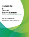 Romanski V Detroit Entertainment