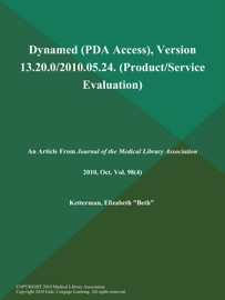Dynamed (PDA Access), Version 13.20.0/2010.05.24 (Product/Service Evaluation)