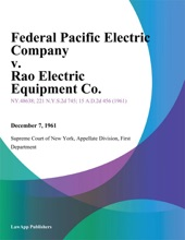 Federal Pacific Electric Company v. Rao Electric Equipment Co.