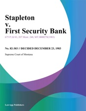 Download and Read Online Stapleton v. First Security Bank