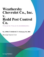 Weathersby Chevrolet Co., Inc. V. Redd Pest Control Co., Inc.