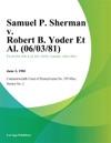 Samuel P Sherman V Robert B Yoder Et Al