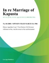 In Re Marriage Of Kapusta