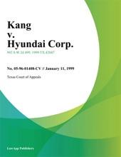 Kang v. Hyundai Corp.