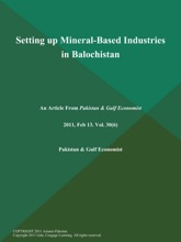 Setting Up Mineral-Based Industries In Balochistan