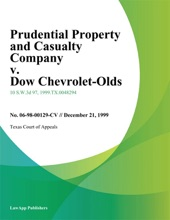 Prudential Property and Casualty Company v. Dow Chevrolet-Olds
