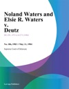 Noland Waters And Elsie R Waters V Deutz