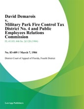 David Demarois V. Military Park Fire Control Tax District No. 4 And Public Employees Relations Commission