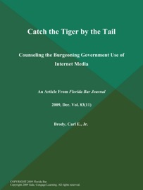 Catch The Tiger By The Tail Counseling The Burgeoning Government Use Of Internet Media
