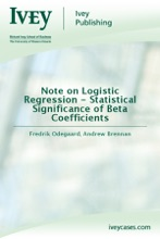 Note On Logistic Regression - Statistical Significance Of Beta Coefficients