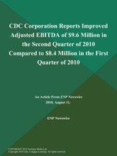CDC Corporation Reports Improved Adjusted EBITDA of $9.6 Million in the Second Quarter of 2010 Compared to $8.4 Million in the First Quarter of 2010