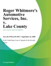 Roger Whitmores Automotive Services Inc V Lake County Illinois