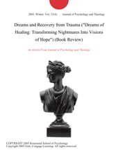 Dreams And Recovery From Trauma (