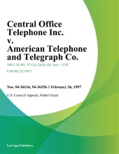 Central Office Telephone Inc. v. American Telephone and Telegraph Co.