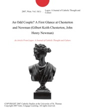 An Odd Couple? A First Glance at Chesterton and Newman (Gilbert Keith Chesterton, John Henry Newman)